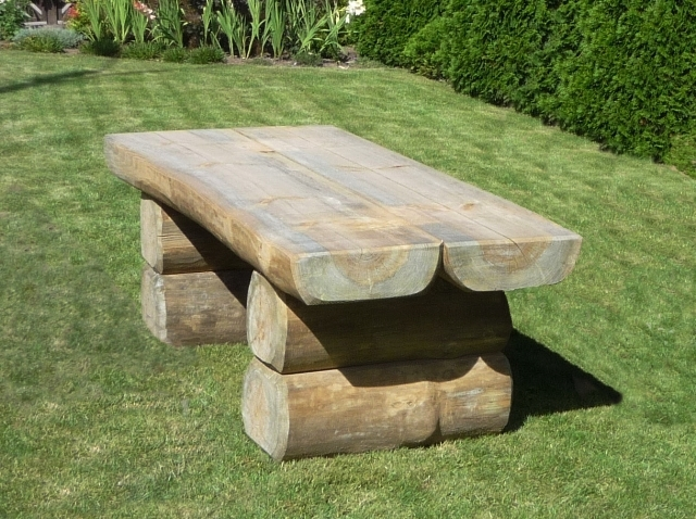 Jak Zrobic Meble Ogrodowe Z Drewna Projekty : Stół ogrodowy z bali FRED  wyjątkowy Stół ogrodowy z bali FRED